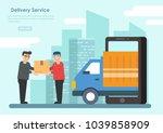 deliver man in his service job.   Shutterstock .eps vector #1039858909