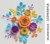 3d render  paper flowers...   Shutterstock . vector #1039858918
