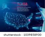 map of usa. floating blue... | Shutterstock .eps vector #1039858930