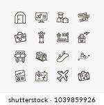 travel icon set and door... | Shutterstock .eps vector #1039859926