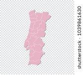 portugal map   high detailed... | Shutterstock .eps vector #1039861630