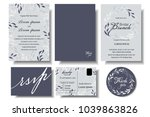 set of wedding invitation card... | Shutterstock .eps vector #1039863826