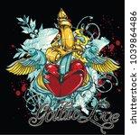 gothic love illustration | Shutterstock .eps vector #1039864486
