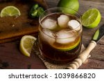 high angle view of a glass of... | Shutterstock . vector #1039866820