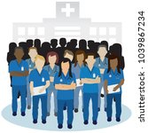 irritated or angry nurse group... | Shutterstock .eps vector #1039867234