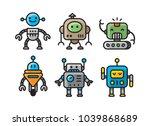6 cute cartoon robot mascot.... | Shutterstock .eps vector #1039868689