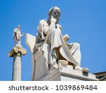 Small photo of Academy of Athens, Athens, Greece, June 4 2008: Statue of Socrates with Apollo in background.