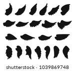set of hand drawn angel or bird ... | Shutterstock .eps vector #1039869748