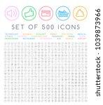 500 universal thin line black... | Shutterstock .eps vector #1039873966