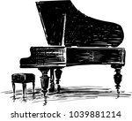 sketch of a concert grand piano   Shutterstock .eps vector #1039881214