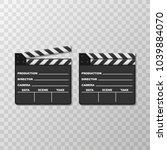 black closed clapperboard.... | Shutterstock .eps vector #1039884070