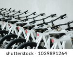 modern bicycles rental shop. | Shutterstock . vector #1039891264
