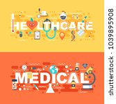 medical and healthcare set of... | Shutterstock .eps vector #1039895908