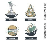 pasta  pizza  salad and burger  ... | Shutterstock .eps vector #1039898140