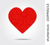 red valentines love heart  curl ... | Shutterstock .eps vector #1039900213