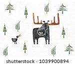 moose and bird   Shutterstock . vector #1039900894