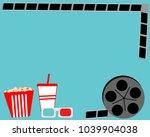 snacks  popcorn and drink for... | Shutterstock .eps vector #1039904038