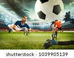 football scene with competing... | Shutterstock . vector #1039905139