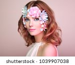 face of beautiful woman... | Shutterstock . vector #1039907038