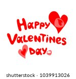 happy valentines day hand... | Shutterstock .eps vector #1039913026