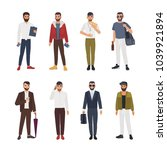 collection of caucasian bearded ... | Shutterstock .eps vector #1039921894