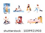Stock vector set of crazy cat lady performing her daily activities being surrounded by pets sleeping doing 1039921903