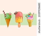 vector set of ice cream | Shutterstock .eps vector #1039928680