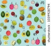 tropical fruits vector seamless ... | Shutterstock .eps vector #1039928794