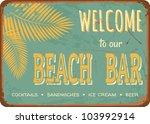 "vintage style tin sign ""beach..."