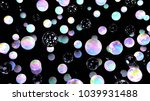 holographic bubbles on black....   Shutterstock . vector #1039931488