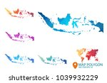indonesia map   set of... | Shutterstock .eps vector #1039932229