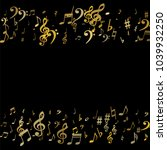 gold flying musical notes... | Shutterstock .eps vector #1039932250