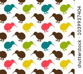 kiwi birds colorful seamless... | Shutterstock .eps vector #1039937404