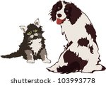 Stock vector dog and cat vector illustration 103993778