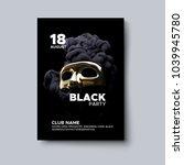 black party poster design.... | Shutterstock .eps vector #1039945780
