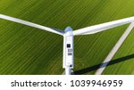 aerial photo above wind turbine ... | Shutterstock . vector #1039946959