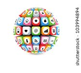 ball with social media icons... | Shutterstock .eps vector #103994894