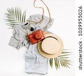 woman fashion travel flatlay.... | Shutterstock . vector #1039955026