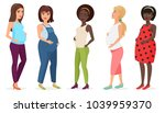 pregnant fashion set. happy... | Shutterstock . vector #1039959370