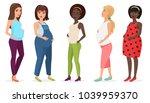 pregnant fashion set. happy... | Shutterstock . vector #1039959370