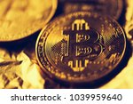 bitcoin cryptocurrency  golden... | Shutterstock . vector #1039959640