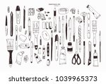 collection of hand drawn... | Shutterstock .eps vector #1039965373