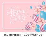 happy easter lettering.... | Shutterstock .eps vector #1039965406