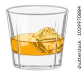 whiskey glass with ice | Shutterstock .eps vector #1039970884