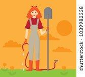 flat happy gardener woman with... | Shutterstock .eps vector #1039982338