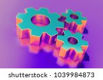 candy color cogs icon on purple ...   Shutterstock . vector #1039984873