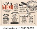 burger restaurant menu. vector... | Shutterstock .eps vector #1039988578
