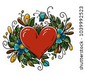 tattoo red heart decorated... | Shutterstock .eps vector #1039992523