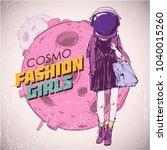 space fashion illustration.... | Shutterstock .eps vector #1040015260