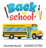 back to school sticker with bus ... | Shutterstock . vector #1040015740